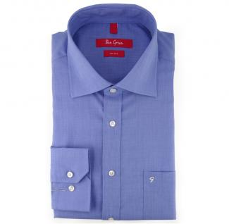 Ben Green Herrenhemd blau Uni langarm bügelfrei - New-Kent-Kragen Hemd Gr.50