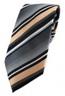 TigerTie Designer Krawatte in lachs silber grau weiss schwarz gestreift