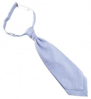 TigerTie Plastron Pique 2tlg Krawatte fertig gebunden hellblau-weiss gemustert
