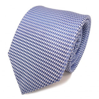 Designer Seidenkrawatte blau hellblau silber gemustert - Krawatte Schlips Binder