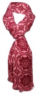 Feiner Schal in rot rosé weinrot gemustert mit kleinen Fransen - Gr. 180 x 50 cm