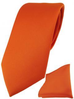 TigerTie Designer Krawatte + TigerTie Einstecktuch in orange einfarbig uni