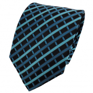 TigerTie Seidenkrawatte türkis grün petrol schwarz kariert - Krawatte 100% Seide