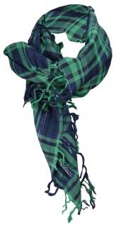 Halstuch in grün blau silber kariert mit Fransen - Glitzerfaden eingewebt