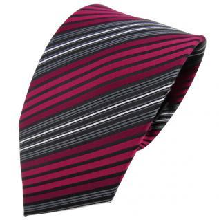 TigerTie Krawatte rot bordeaux anthrazit schwarz gestreift - Binder Tie