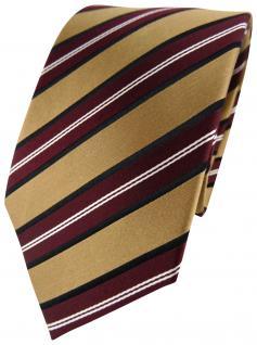 TigerTie Seidenkrawatte in gold bordeaux rot weiss gestreift - Krawatte Seide