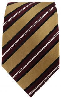 TigerTie Seidenkrawatte in gold bordeaux rot weiss gestreift - Krawatte Seide - Vorschau 2