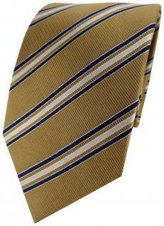 TigerTie Designer Seidenkrawatte gold braun blau gestreift - Krawatte 100% Seide