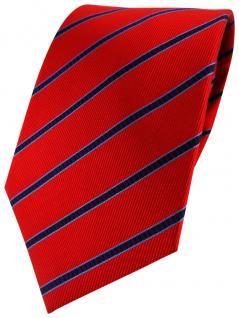 TigerTie Designer Seidenkrawatte in rot weinrot blau gestreift - Krawatte Seide