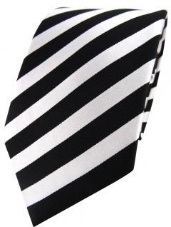 schöne TigerTie Seidenkrawatte in schwarz silber gestreift - Krawatte 100% Seide