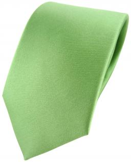 TigerTie Satin Seidenkrawatte in grün hellgrün Uni - Krawatte 100 % Seide