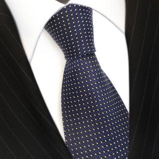 Designer Krawatte Seide gepunktet Blau Dunkelblau Silber - Seidenkrawatte Silk