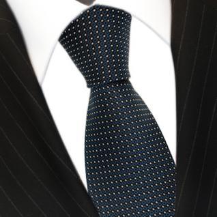 Designer Krawatte Seide dunkles türkis blaugrün silber schwarz gepunktet