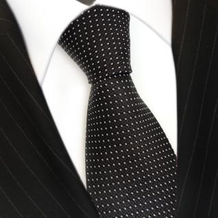 Designer Krawatte Seide braun dunkelbraun silber schwarz gepunktet - Seidenkrawatte