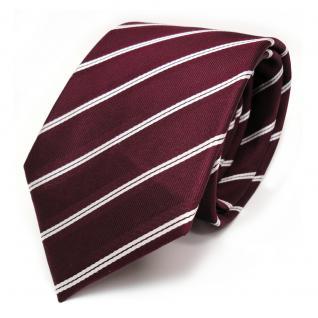 TigerTie Designer Seidenkrawatte in weinrot rot weiss gestreift - Krawatte Seide