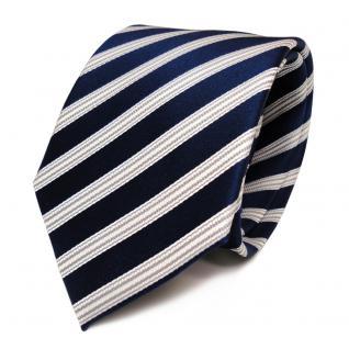 TigerTie Seidenkrawatte blau kobaltblau weiss silber gestreift - Krawatte Seide