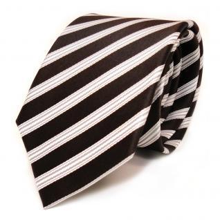 Designer Seidenkrawatte braun dunkelbraun weiss silber gestreift - Krawatte