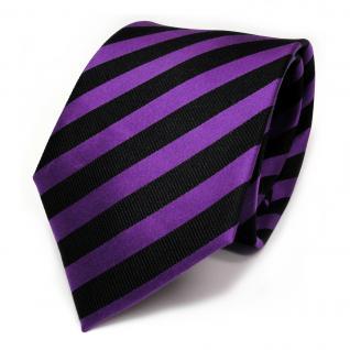 TigerTie Designer Seidenkrawatte lila violett schwarz gestreift - Krawatte Seide