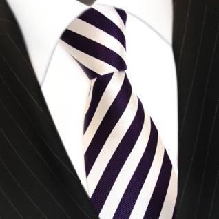 Designer Seidenkrawatte lila violett weiss silber gestreift - Krawatte - Vorschau 3