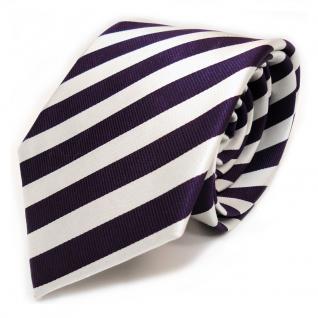 Designer Seidenkrawatte lila violett weiss silber gestreift - Krawatte