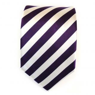 Designer Seidenkrawatte lila violett weiss silber gestreift - Krawatte - Vorschau 2