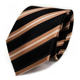 TigerTie Seidenkrawatte schwarz gold silber gestreift - Krawatte Seide Tie