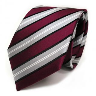 TigerTie Seidenkrawatte weinrot grau schwarz silber gestreift - Krawatte Seide