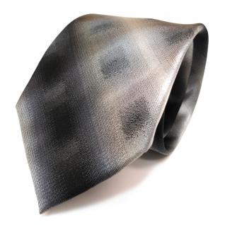 Designer Seidenkrawatte anthrazit grau schwarz kariert gestreift - Krawatte Seide
