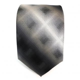 Designer Seidenkrawatte anthrazit grau schwarz kariert gestreift - Krawatte Seide - Vorschau 2