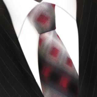Designer Seidenkrawatte rot anthrazit grau schwarz kariert - Krawatte - Vorschau 3