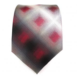 Designer Seidenkrawatte rot anthrazit grau schwarz kariert - Krawatte - Vorschau 2