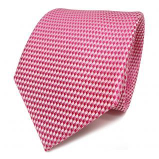 TigerTie Designer Seidenkrawatte magenta rosa silber gemustert -Krawatte Schlips