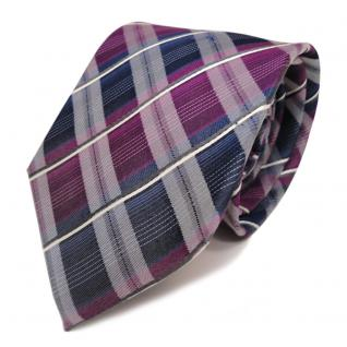 Designer Seidenkrawatte violett blau dunkelblau weiss gestreift - Krawatte Seide