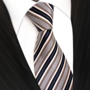 Designer Seidenkrawatte braun grau blau dunkelblau creme gestreift - Krawatte - Vorschau 3
