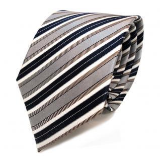 Designer Seidenkrawatte braun grau blau dunkelblau creme gestreift - Krawatte - Vorschau 1