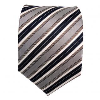 Designer Seidenkrawatte braun grau blau dunkelblau creme gestreift - Krawatte - Vorschau 2