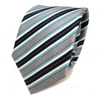 Designer Seidenkrawatte mint grün grau blau dunkelblau creme gestreift- Krawatte