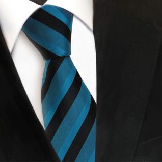 TigerTie Designer Seidenkrawatte türkis grün schwarz gestreift- Krawatte Seide