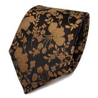 TigerTie Designer Seidenkrawatte gold schwarz gemustert - Krawatte Seide Tie