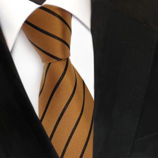 Designer Seidenkrawatte gold schwarz gestreift - Krawatte Seide Tie Binder