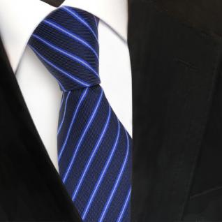 Designer Seidenkrawatte blau dunkelblau marine gestreift - Krawatte Seide Binder