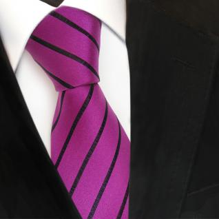 Designer Seidenkrawatte lila magenta violett schwarz gestreift - Krawatte Seide