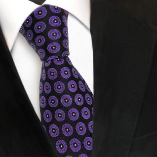 Designer Seidenkrawatte lila schwarz silber gepunktet - Krawatte Seide Tie