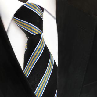 Designer Seidenkrawatte schwarz gelb blau silber gestreift - Krawatte Seide Tie - Vorschau 3