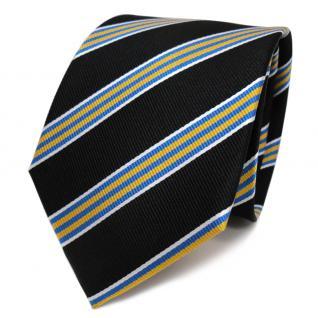 Designer Seidenkrawatte schwarz gelb blau silber gestreift - Krawatte Seide Tie - Vorschau 1