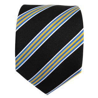 Designer Seidenkrawatte schwarz gelb blau silber gestreift - Krawatte Seide Tie - Vorschau 2