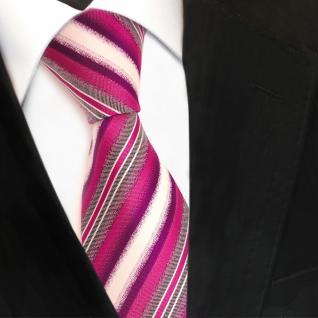 Designer Seidenkrawatte lila himbeerrot creme gestreift - Krawatte Seide Tie