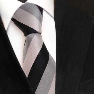 Designer Seidenkrawatte schwarz grau hellgrau gestreift - Krawatte Seide Silk