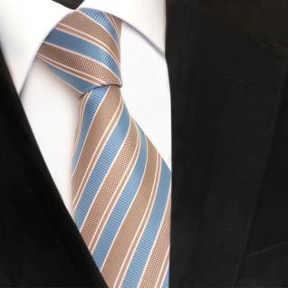 Designer Seidenkrawatte blau himmelblau grau weiss gestreift - Krawatte Seide