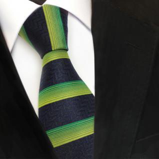 Designer Seidenkrawatte grün royal schwarz quer gestreift - Krawatte Seide Silk
